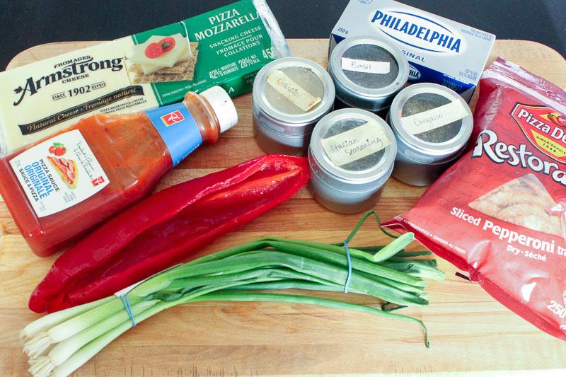 Pepperoni Pizza Dip Ingredients.