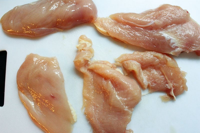 Sliced chicken for Creamy Chicken Skillet with Sun Dried Tomatoes and Italian Herbs