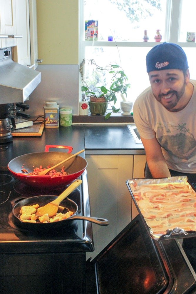 Cooking bacon for Homemade Freezer Pizza - Easy Freezer Meals