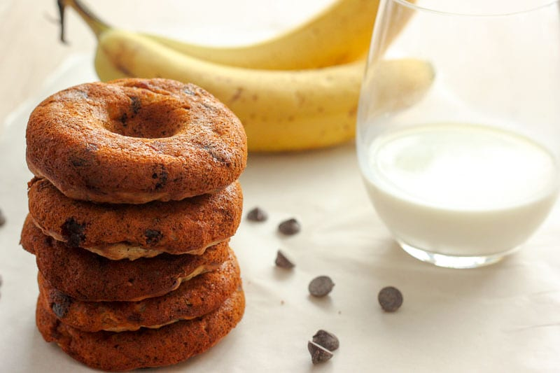 Healthy Donuts with Banana and Chocolate Chips are an easy treat for brunch or a healthy snack for kids