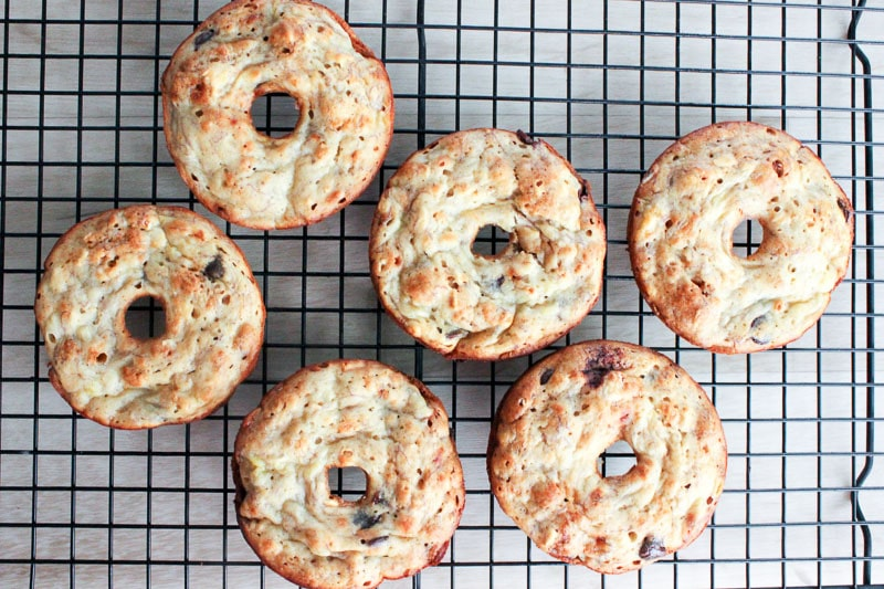 Healthy Donuts with Banana and Chocolate Chips are baked and out of the oven