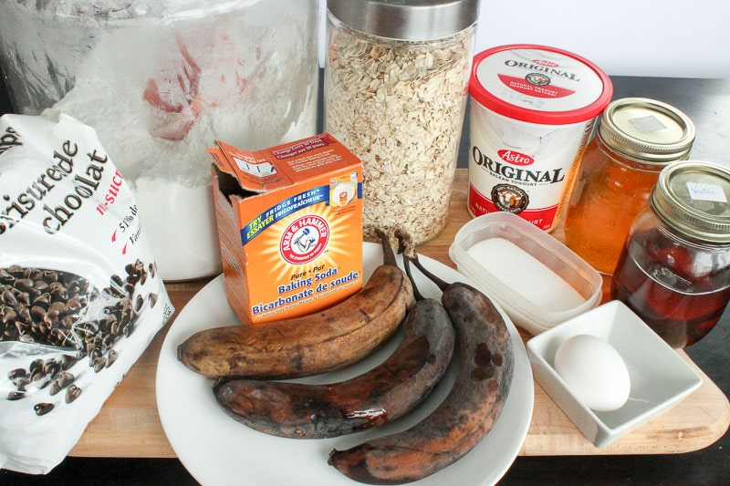 Ingredients for Healthy Donuts with Banana and Chocolate Chips