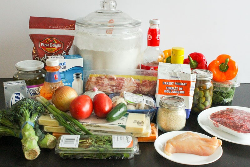 Ingredients for Homemade Freezer Pizza - Easy Freezer Meals