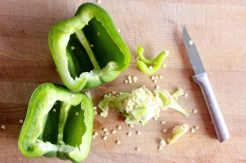 Green Pepper Sliced in Half and Seeded.