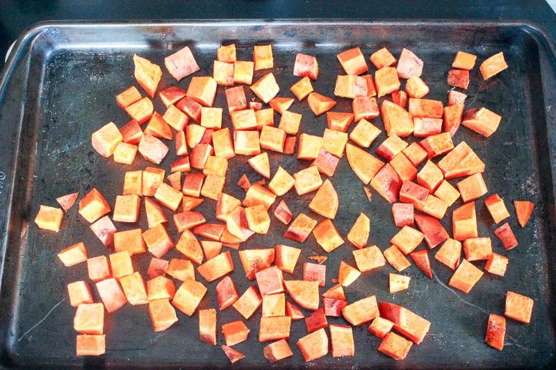 Cubed Sweet Potatoes on Sheet Pan.