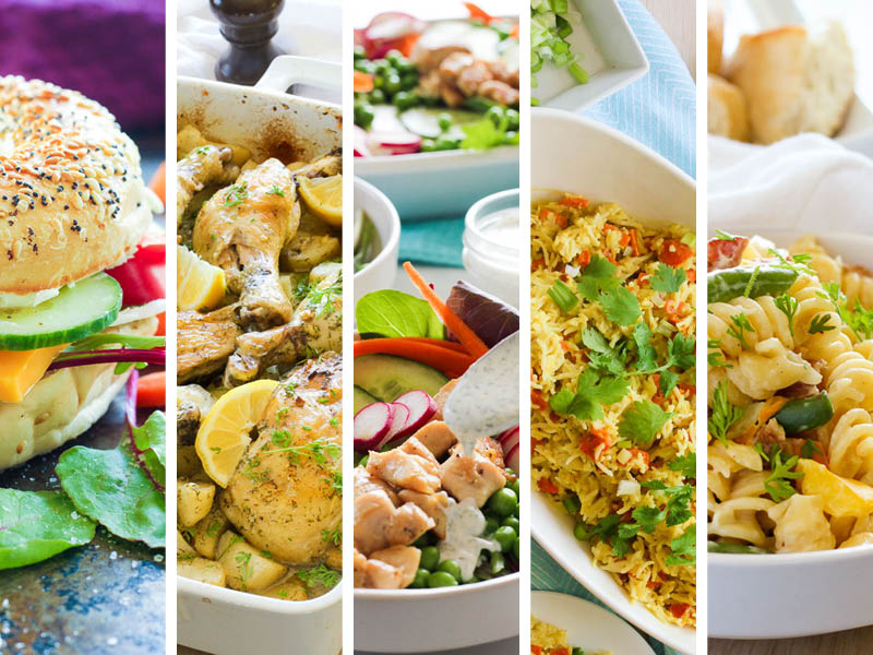 5 Photos of Spring Meals in a Collage.