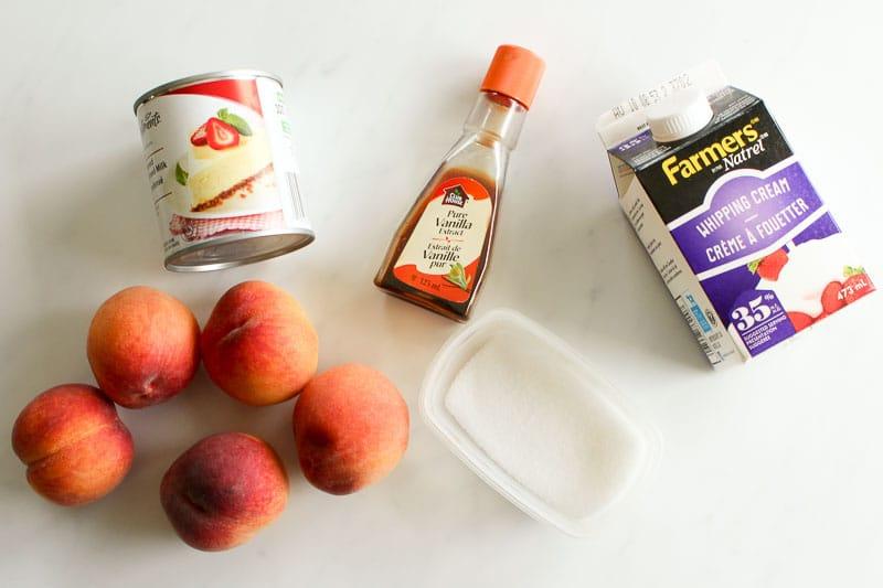 Peaches, salt, sweetened condensed milk, vanilla and whipping cream on White Background.