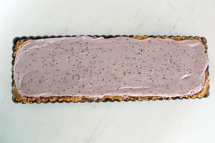No bake blueberry cheesecake ready to chill
