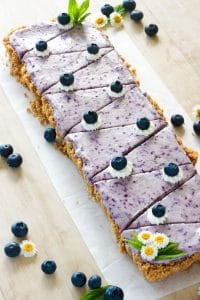 Sliced Blueberry Cheesecake on White Plate.