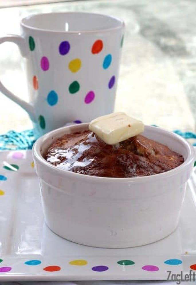 Single serving of banana bread with mug