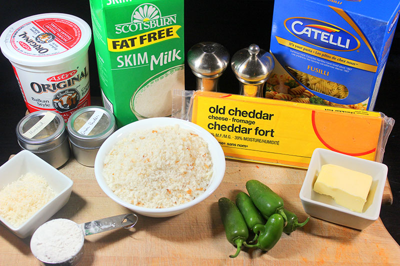 Jalapeño Macaroni and Cheese ingredients.