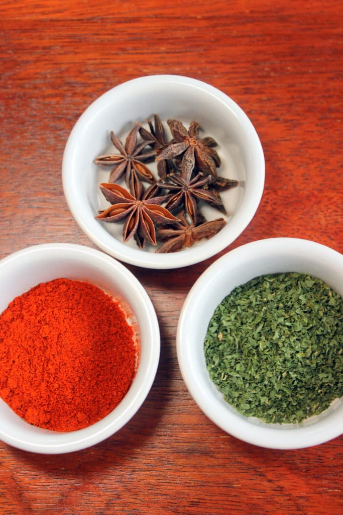 3 Different Spices in White Bowls.