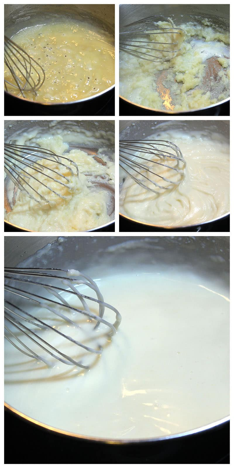 Collage of 5 photos of flour in frying pan with metal whisk in foreground of each one.