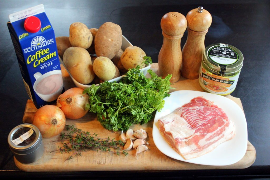 Ingredients for Potato Bacon Soup on Wooden Board.