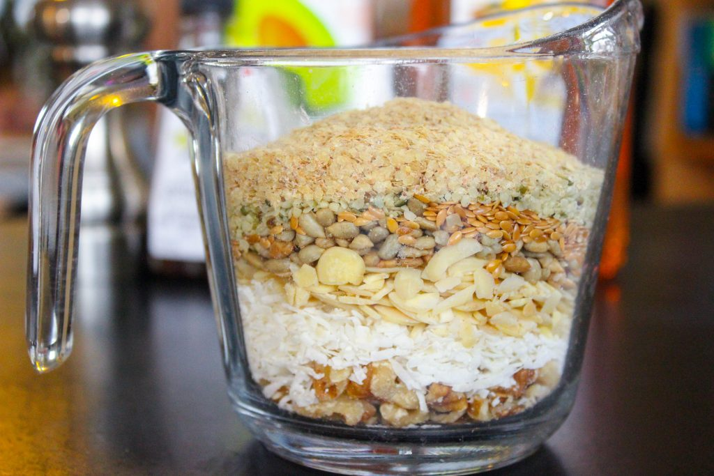 Granola Ingredients in Glass Measuring Bowl.