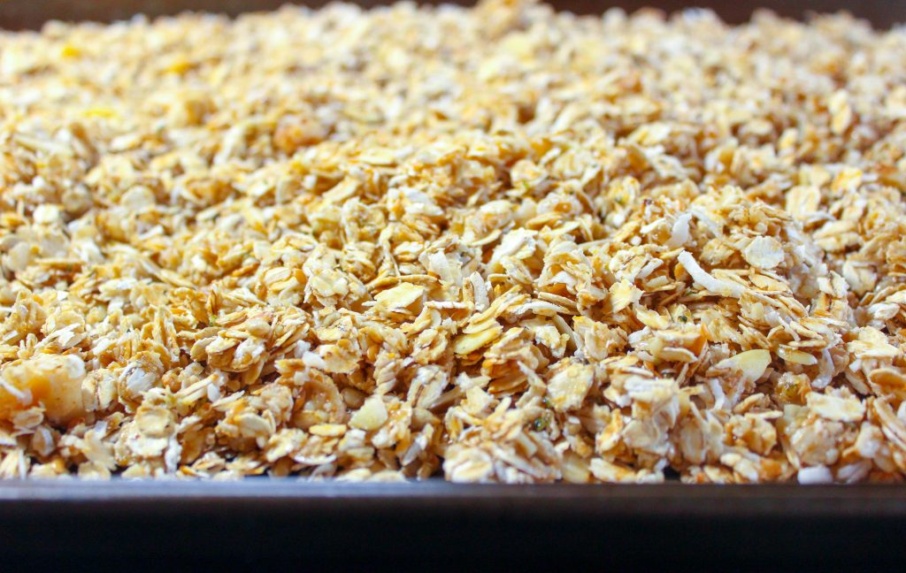Granola on sheet pan.
