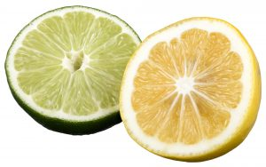 Sliced lime and lemon.