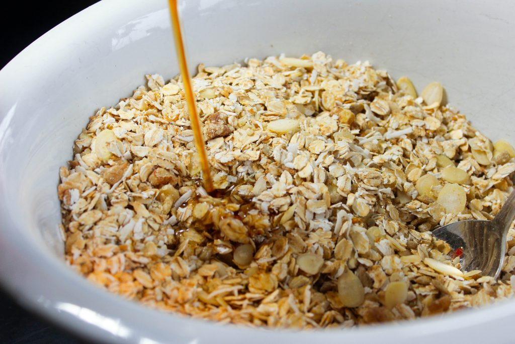 Granola Ingredients in White Bowl.