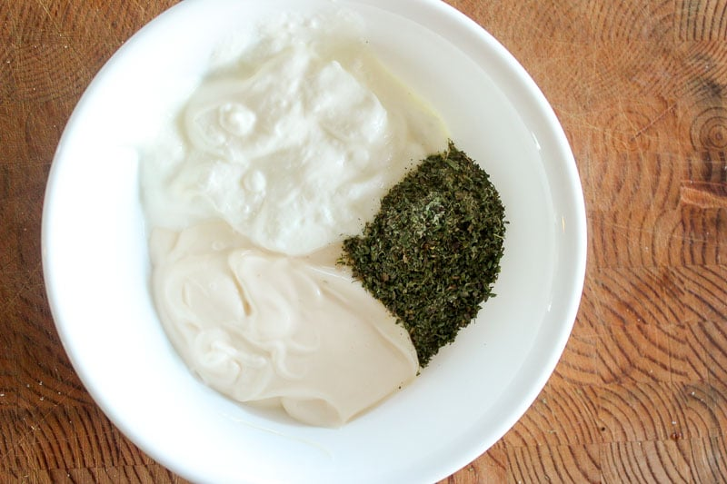 Mayonnaise, Plain Yogurt and Ranch Seasoning in White Bowl.