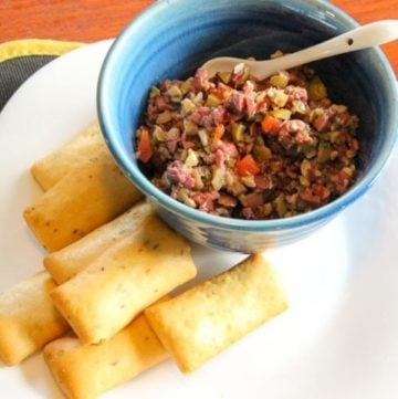 Quick Olive Tapenade- with black and green olives - make it in minutes with ingredients from your pantry!