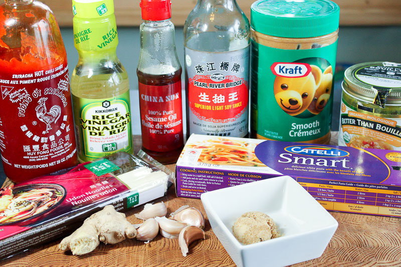 Vegetarian Dan Dan Noodle Ingredients on Wooden Board.