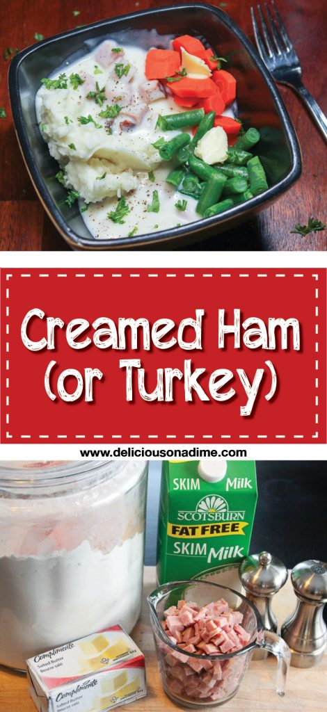 Creamed Ham (or turkey) is the perfect way to use leftover ham or turkey after a big holiday meal! Easy to make, with just 5 ingredients, this delicious meal can be on your table in no time!