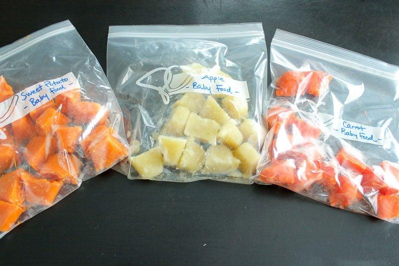 Frozen Baby food in resealable plastic bags.