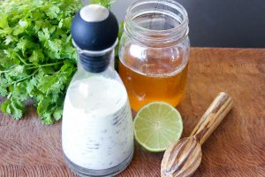 Cilantro Lime Dressing in Glass Jar.