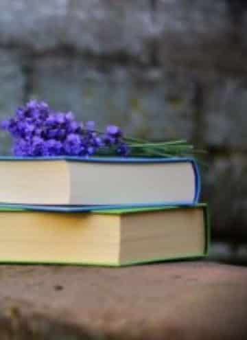 Lavender on top of a stack of books