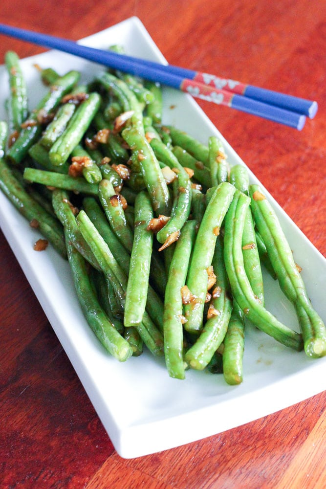 Asian-Style Green Beans on White Plate.