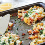 This Potato, Bacon and Egg Sheet Pan Breakfast Bake is EVERYTHING I ever loved in a breakfast or brunch recipe. It's easy, uses just ONE pan, and combines crispy potatoes, smoky bacon and cheesy eggs in one delectable dish. OMG I want it right now, and it's time for supper.