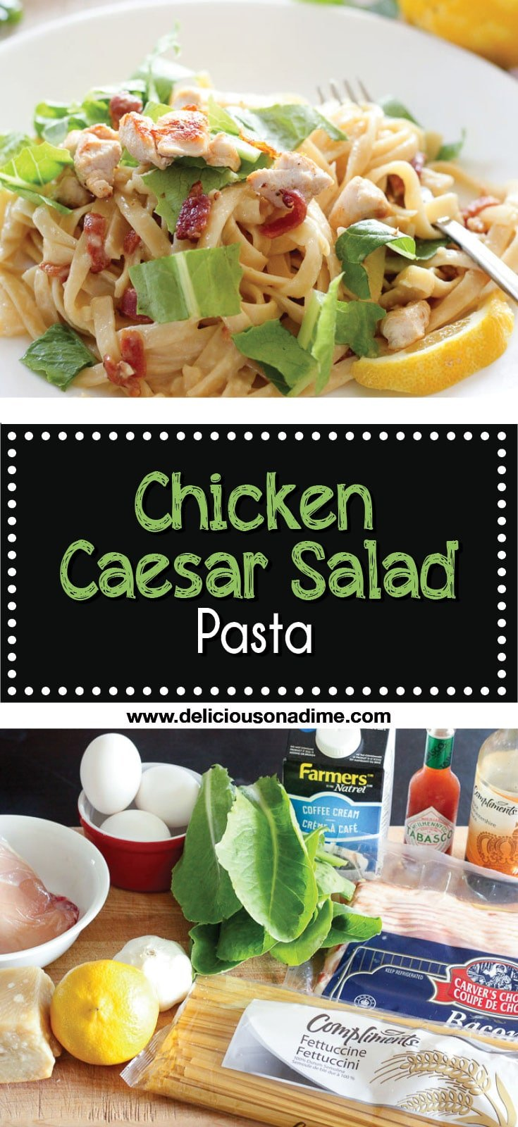 This Chicken Caesar Salad Pasta brings you the best of both worlds. Perfect for when you're craving the freshness of your favourite garlicky, lemony caesar salad, but hungry for a big plate of comfort food. Chicken caesar salad - meet pasta.