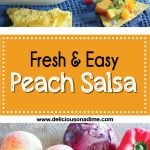 This Fresh and Easy Peach Salsa is the perfect summer recipe. It's both sweet and savoury, is delicious with tortilla chips, tacos or grilled fish, chicken or pork, and makes the best use of those last few peaches you have kicking around your fridge.