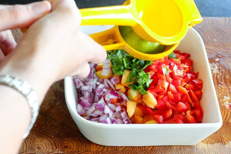 Red Pepper, Red Onion, Peaches and Cilantro in White Bowl.