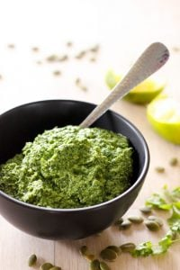 Cilantro Pesto in Black Bowl.