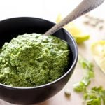 This Super Easy Cilantro Pesto recipe is a simple, healthy condiment you can make in 5 minutes. Then enjoy it on crackers, as a chicken marinade, tossed with pasta, brushed on grilled shrimp, or mixed into a creamy or olive oil salad dressing. So many delicious cilantro possibilities! We LOVE it!