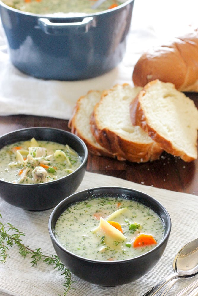 This Creamy Chicken Soup With Egg Noodles recipe is the chicken soup dreams are made of. It's hearty, healthy, both fresh and creamy, and easy to make. Give it a try... it'll be love at first bite.