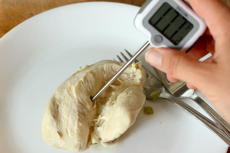 Testing Chicken Breast with Meat Thermometer.