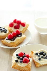 5 pastries topped with icing and fruit on white plates with glass of milk on white background.