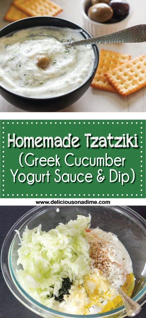This Homemade Tzatziki recipe (a Greek sauce or dip made from yogurt and cucumbers) is super fresh, creamy and healthy.  Bonus: it's easy and cheap to make!  Enjoy it as a sandwich spread, salad dressing, a snack dip, on chicken or Greek meatballs.  It's delicious!