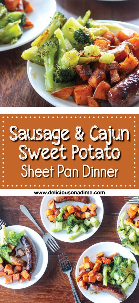 This Sausage and Cajun Sweet Potato Sheet Pan Dinner recipe is on the table in 25 minutes and is easy easy easy!  Make it as a quick weeknight supper, or do your lunch prep for the entire week!  You can customize the cajun spice to make it spicy or completely mild.  It's delicious!