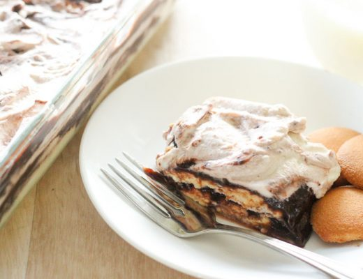 This Easy Chocolate and Vanilla Icebox Cake is the answer to every time you wished for a super easy, make ahead dessert. It's no bake, uses a few pantry staples and comes together in no time. Who says icebox cakes are just for summer?