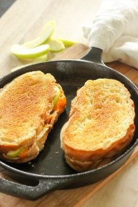 Bacon and Green Apple Grilled Cheese Sandwiches in Cart Iron Frying Pan.