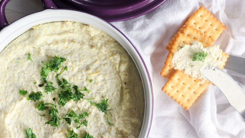 Whipped Artichoke and Feta Dip makes a delicious spread for crackers or chips!