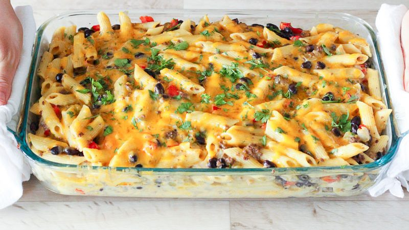 Chile Con Queso Pasta Bake is ready to enjoy!