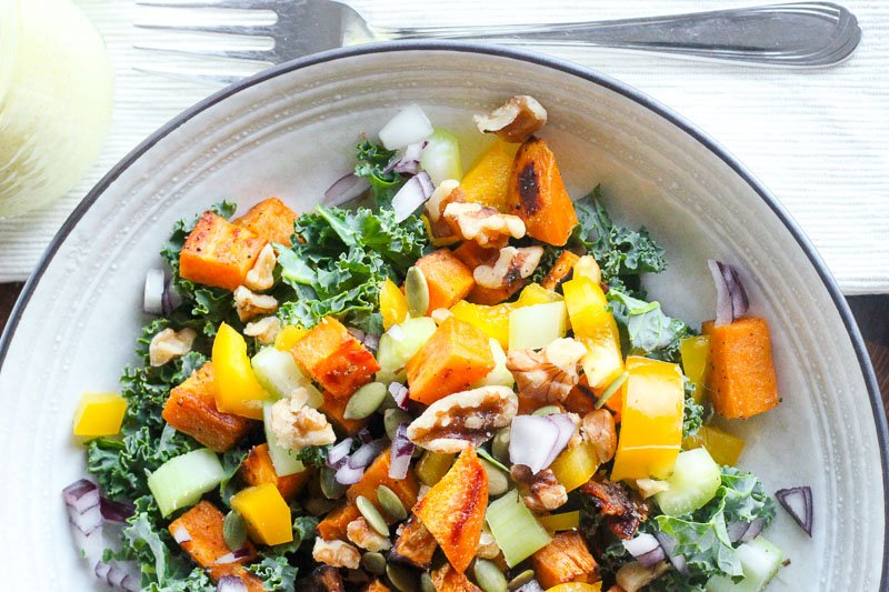 Healthy Fall Salad with Kale, Sweet Potatoes and Creamy Maple Curry Dressing