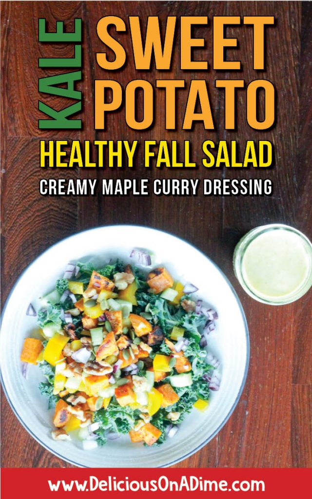 A rainbow on your plate - Healthy Fall Salad with Kale, Sweet Potatoes and Creamy Maple Curry Dressing is delicious and easy