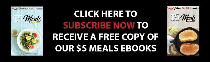 Banner showcasing $5 meals cookbook download for subscribers