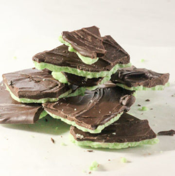 Stack of mint chocolate pieces.