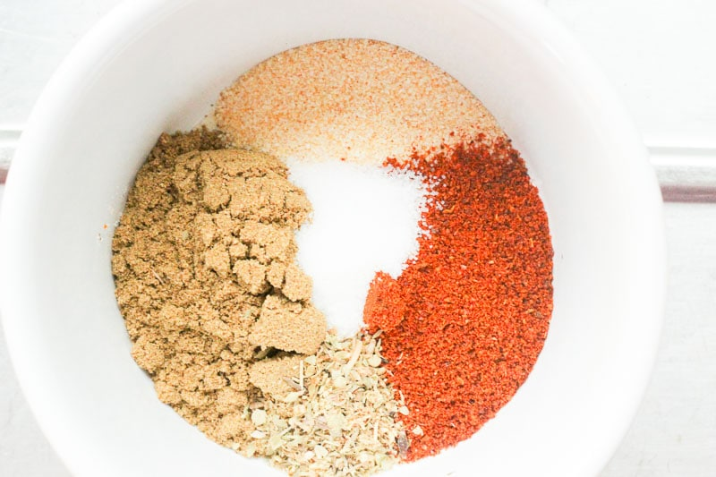Spice rub mixture in White Bowl.